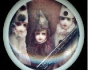After Midnight Halloween ZOMBIE CHILDREN with CLOWN Caps Hats Ceramic Drawer Knob