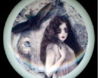 After Midnight Halloween SCARY ZOMBIE GIRL & Her Bat Ceramic Drawer Knob