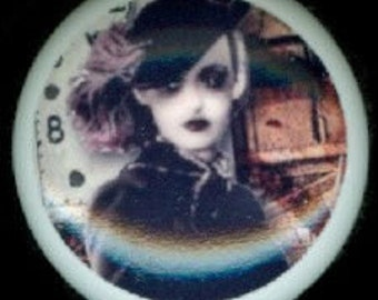 After Midnight Stylish Chic STEAMPUNK ZOMBIE LADY with Hat Ceramic Drawer Knobs
