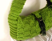 Large Olive Green Bag Hand Knitted Checkerboard Pattern