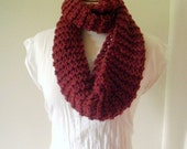 Cabernet Knitted Infinity Scarf or Cowl Unisex SALE WAS 38 NOW 20