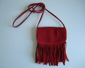 Small Red Suede Fringe Purse