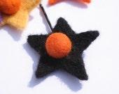 SALE ) Star Bobby Pin - Orange and Black SALE )