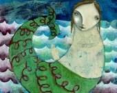 Wood Mount Print - mixed media collage Folk Art - mermaid