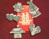 Set Of 5 Origami Money One Dollars Bill - LOVE STORY