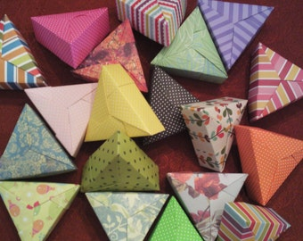 5 Assorted Mini Paper Origami Triangle Boxes