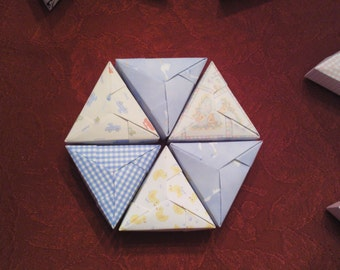 6 Paper Origami Triangle PIE Mini Boxes - Baby Blues - BABY BOY