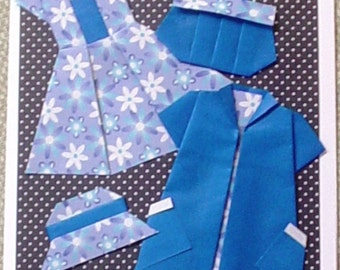 Ahhh - What to wear - What to wear - Origami Dress Greeting Card - E