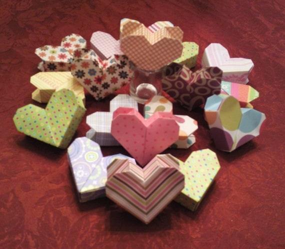 Bo tes coeur origami 3d avec compartiment secret - Origami boite coeur ...