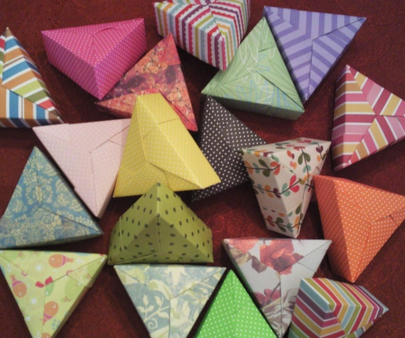 Items similar to 5 Assorted Mini Paper Origami Triangle ... - photo#16