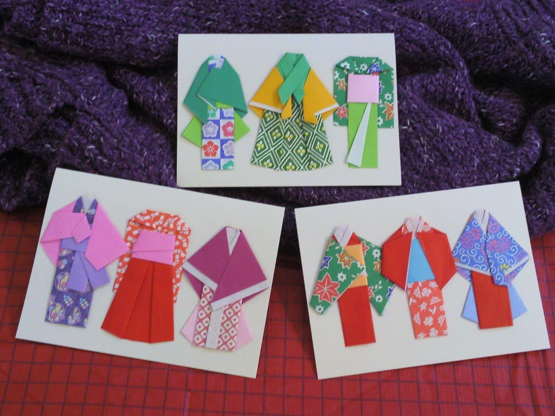 set of 3 origami kimono cards a trio of trio c