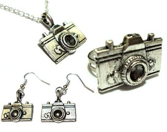 Matching Camera Ring, Necklace, and Earrings Set