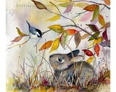 Autumn Whispers - Bunny with Chickadee
