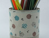 Apples and Letters - FABRIC PENCIL CUP