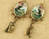 Vintage Pinup Girl Earrings Redhead Pinup Girl Earrings Perfume Bottle Charms Brass Filigree Earrings Altered Art