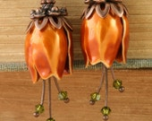 Orange Flower Earrings Tulip Earrings Copper Flower Earrings Woodland Earrings Olive Swarovski Crystal Harvest Fall