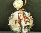 Alice in Wonderland Necklace Alice Necklace Alice Clock Necklace Brass Alice Necklace Brass Filigree Alice in Wonderland Necklace Vintage