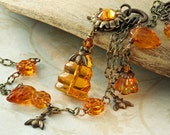 Beehive Necklace Bee Hive Necklace Honey Bee Necklace Long Topaz Flower Necklace Amber Necklace Orange Necklace Woodland Necklace Brass