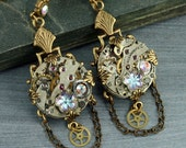 Steampunk Earrings Crystal Steampunk Earrings Steampunk Jewelry Steampunk Chandelier Earrings Brass Steampunk Gears Watch Earrings