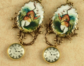 White Rabbit Earrings Alice in Wonderland Earrings Pocket Watch Earrings Brass Filigree Vintage Style Altered Art