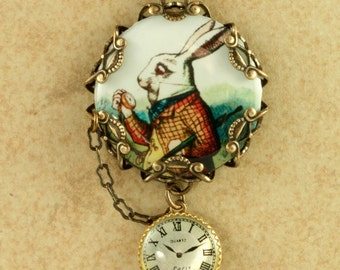 White Rabbit Necklace Alice in Wonderland Necklace Rabbit Necklace Vintage Alice In Wonderland Necklace Pocket Watch Necklace Brass Filigree