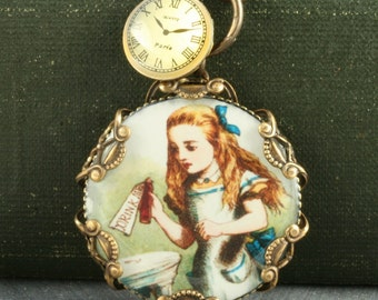 Alice in Wonderland Necklace Alice Necklace Alice Clock Necklace Brass Alice Necklace Brass Filigree Alice in Wonderland Necklace Vintage
