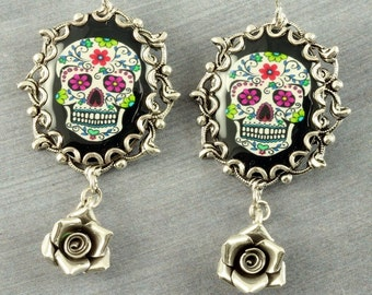 Sugar Skull Earrings Halloween Earrings Sugar Skull Jewelry Black Day of the Dead Earrings Silver Dia de los Muertos Earrings Halloween
