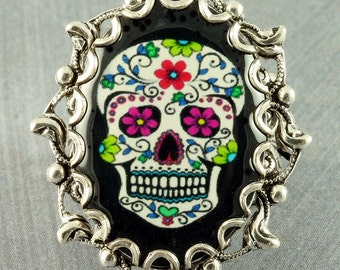 Sugar Skull Ring Halloween Ring Black Day of the Dead Ring Dia de los Muertos Ring Halloween Sugar Skull Silver Sugar Skull Ring Goth Ring