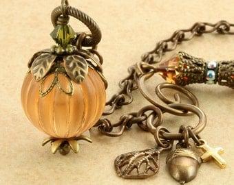 Pumpkin Necklace Halloween Necklace Orange Pumpkin Jewelry Pumpkin Pendant Halloween Jewelry Pumpkin Jewellery Fall Necklace Autumn Necklace
