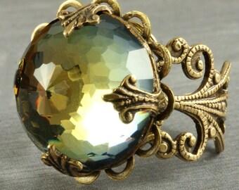 Amber Crystal Ring Slate Blue Crystal Ring Coctail Ring Olive Crystal Ring Swarovski Crystal Ring Amber Slate Blue Brass Filigree Adjustable