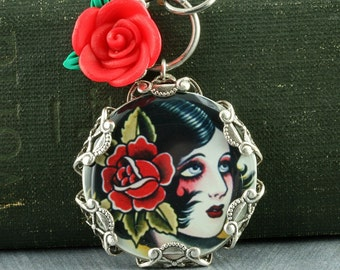 Pinup Girl Necklace Tattoo Necklace Gothic Necklace Red Rose Sterling Silver Filigree Old School Tattoo Flash