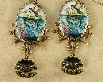 Mermaid Earrings Mermaid Jewelry Mermaid Jewellery Seahorse Earrings Beach Earrings Seashell Earrings Beach Jewelry Nautical Earrings