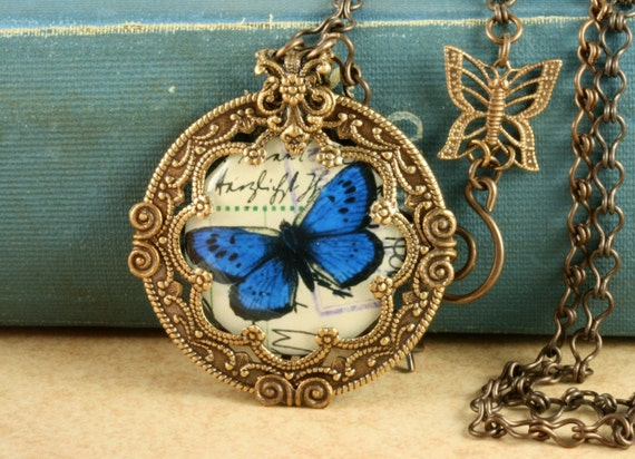 Blue Butterfly Necklace Blue Morpho Butterfly Necklace Blue Butterfly Pendant Woodland Necklace Brass Butterfly Necklace Nature Lover