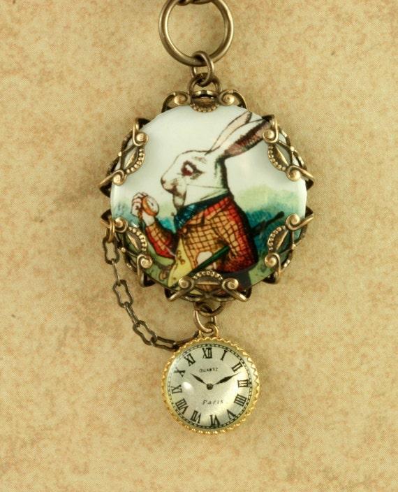 White Rabbit Necklace Alice in Wonderland Necklace Rabbit Necklace Vintage Alice In Wonderland Necklace Pocket Watch Necklace Brass Filigree