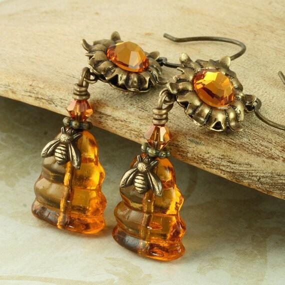Beehive Earrings Dangle Bee Hive Earrings Honey Bee Earrings Topaz Flower Earrings Amber Earrings Orange Earrings Woodland Earrings Brass