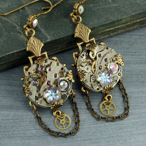 Steampunk Earrings Crystal Steampunk Earrings Steampunk Jewelry Steampunk Chandelier Earrings Brass Steampunk Gears Watch Earrings