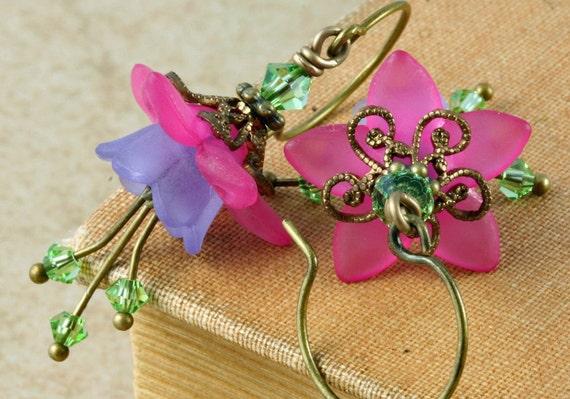 Pink Flower Earrings Purple Flower Earrings Victorian Earrings Fuchsia Flower Earrings Brass Filigree Earrings Peridot Crystal