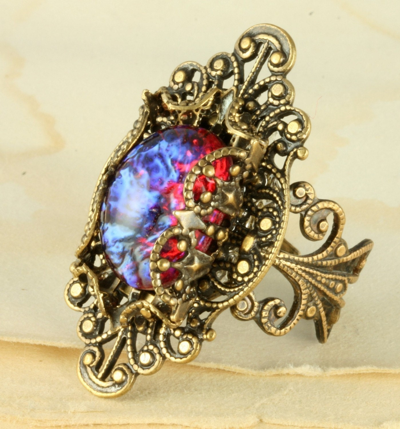 Fire Opal Ring Dragons Breath Ring Mexican Fire Opal Ring