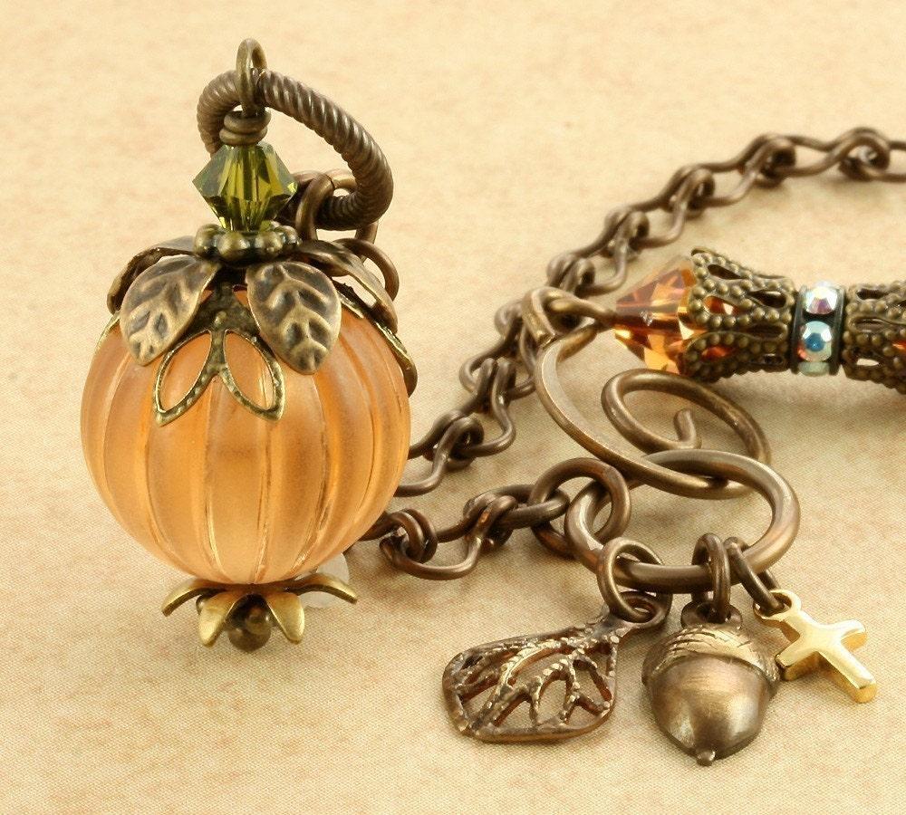 pumpkin necklace necklace orange pumpkin jewelry
