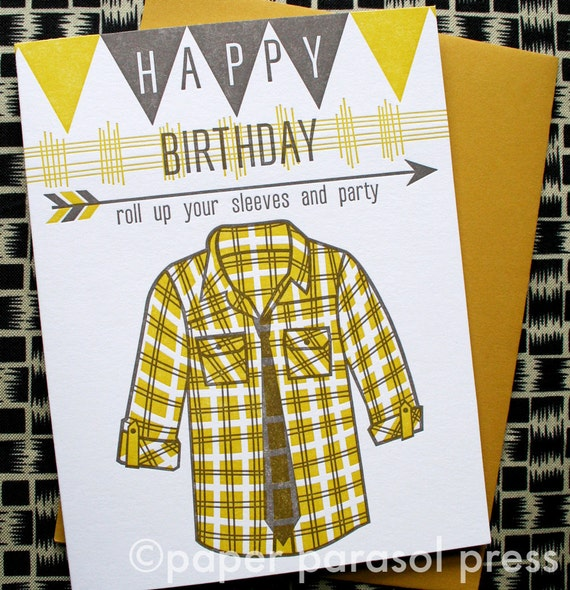 Happy Birthday Banner Plaid Shirt Arrow Letterpress Card