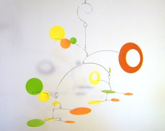 Modern Kinetic Mobile - The Nebula, in Citrus - Baby Mobile