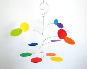 Rainbow Baby Mobile, Gift for Kids, MCM Nursery Decor, Playroom Art, Minimalist Nursery  - The Petite Nebula, in Spectrum