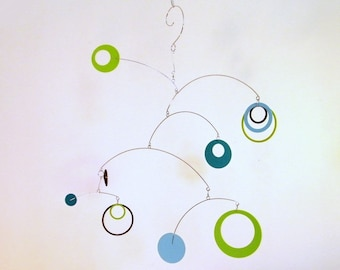Playroom Decor, Baby Gift, Nursery Mobile - The Saturn, in Lime Breeze
