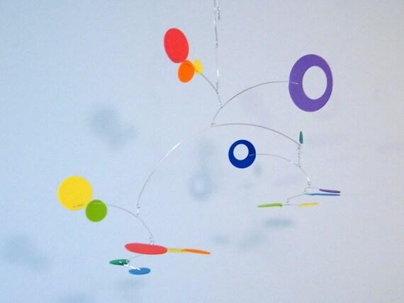 Art Mobile, Rainbow Nursery Decor, Baby Mobile - The Nebula, in Spectrum