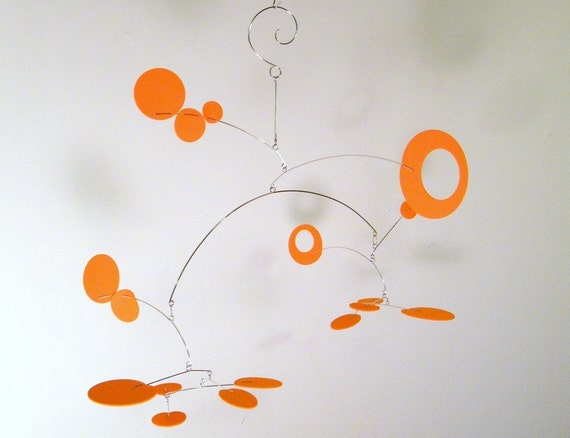 Orange Baby Mobile, Orange Nursery Decor, MCM Decor - The Nebula Baby Mobile, in Orange