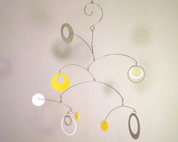 Nursery Mobile, Crib Mobile, Modern Baby Mobile, Neutral Baby Mobile - The Saturn, in Mellow Yellow