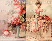 Instant Download TWO Digital Scans PINK Roses and Dreaming Lady Antique French postcards Wall Art Decor