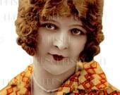 Instant Download 1920s Flapper Art Deco Lady in Orange DIGITAL Cutout French Postcard Digital Scan