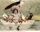 Instant Download Dog Paddling DACHSHUND Doxie Antique French postcard DIGITAL Scan