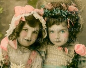 DIGITAL Scan VICTORIAN Friends Two Girls in Bonnets SPRING Antique French Postcard Photo Download